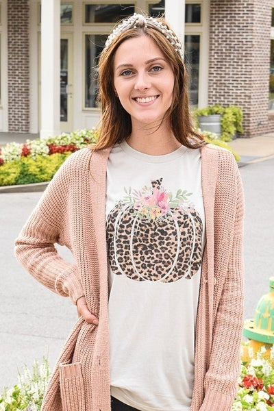 Fall is My Favorite Leopard Pumpkin with Floral Accent Oatmeal Tee - Sizes 4-12