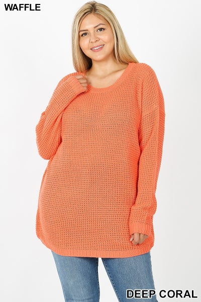 Feeling Good Hi-Low Lightweight Waffle Sweater in Multiple Colors - Sizes 12-20