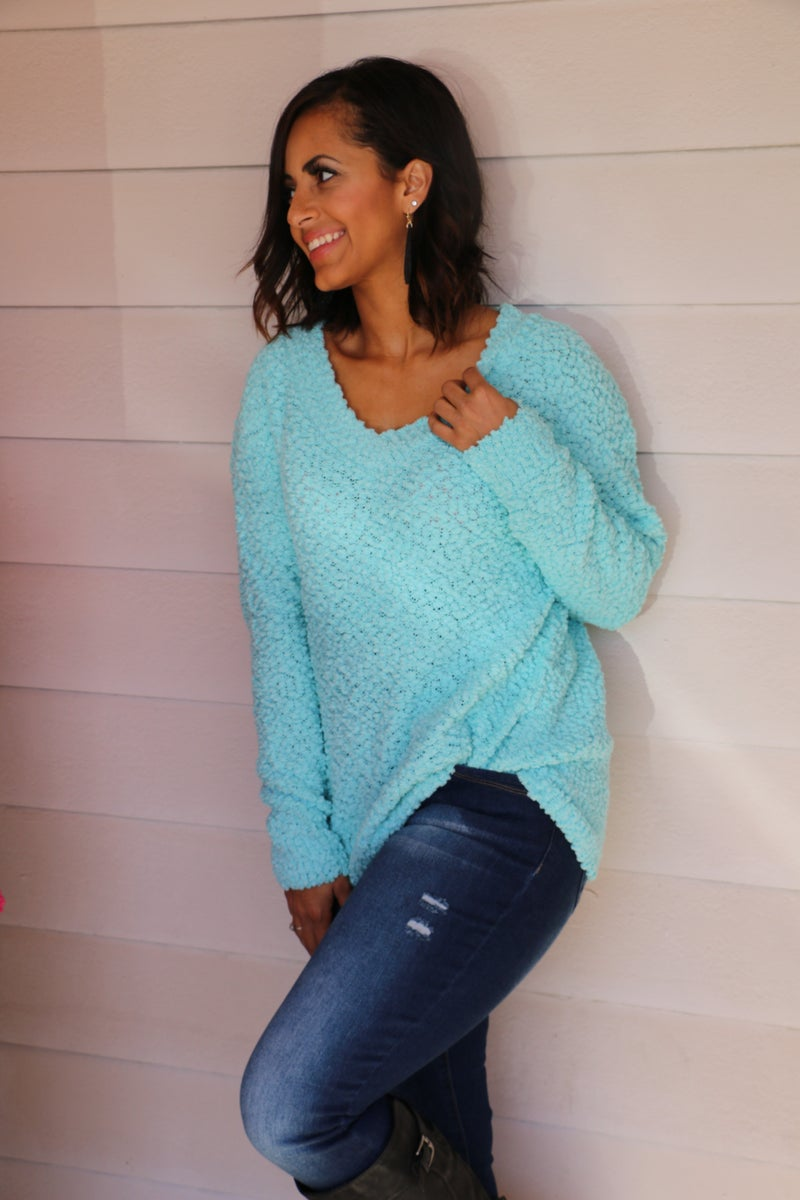 Patiently Waiting Popcorn V-Neck Sweater in Multiple Colors - Sizes 4-20