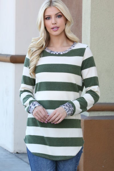 The Greatest in the Jungle Olive Striped Super Soft Top with Leopard Accents - Sizes 4-12