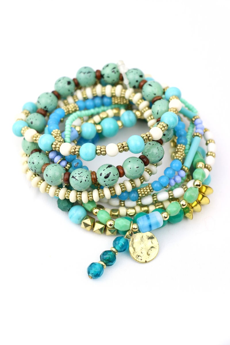 Take The Risk 10 Strand Turquoise Multi-beaded Stretch Bracelet
