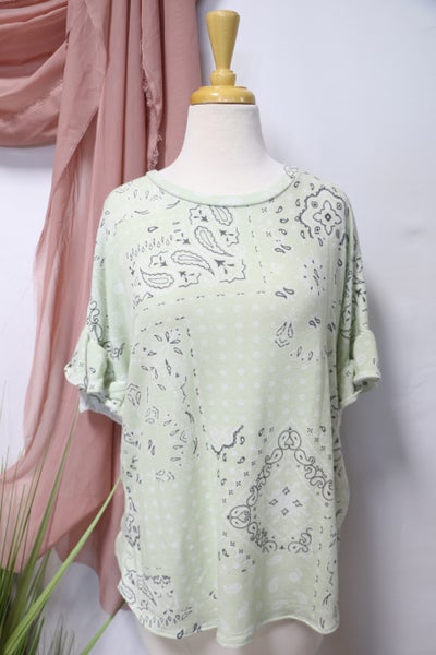 It's A Journey Sage Paisley Top with Ruffle Sleeves - Sizes 4-20