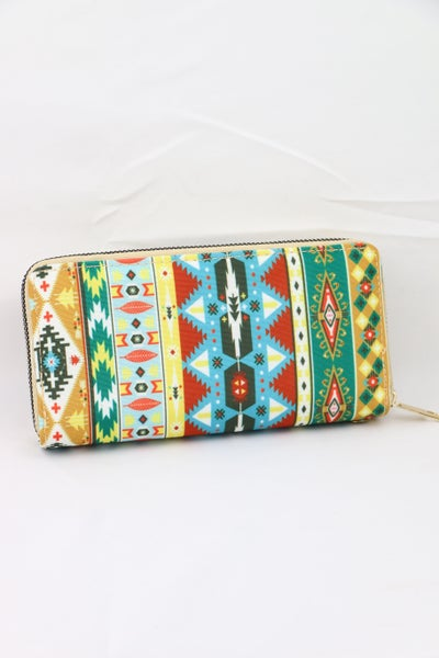 Southwest Days Aztec Double Zipper Wallet