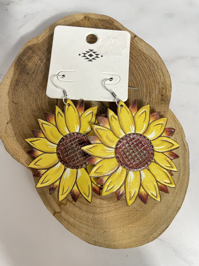 You're My Sunshine Sunflower Leather Earring