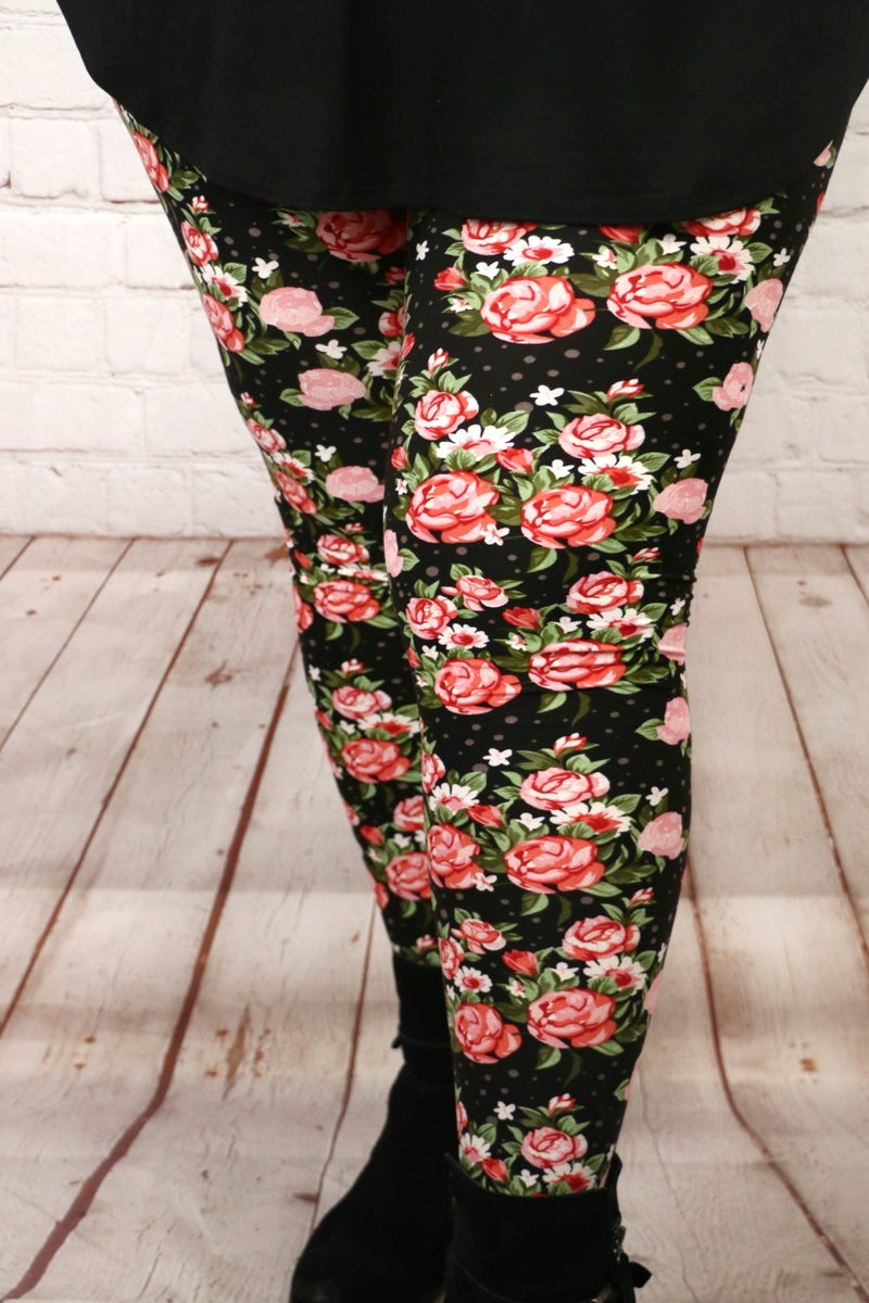 The Loveliest of Roses Black Legging with Rose Floral Print - Sizes 12-20