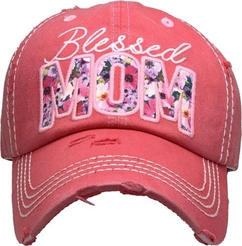 Blessed Mom Floral Letter Ball Cap In Multiple Colors