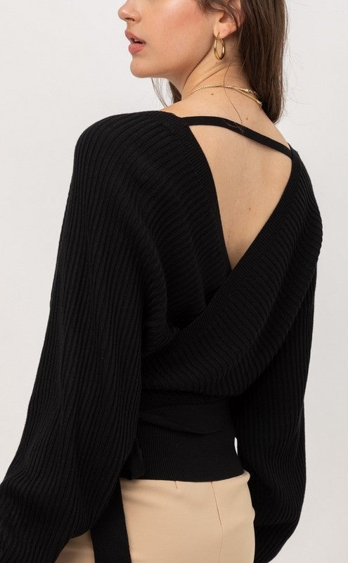 Go Where You Choose Wrap Sweater with Tie Front - Sizes 4-12