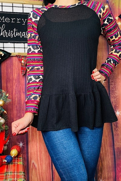 Looking My Best Black Ruffled Hem Waffle Knit with Leopard and Serape Sleeve and V- Neck - Sizes 4-20