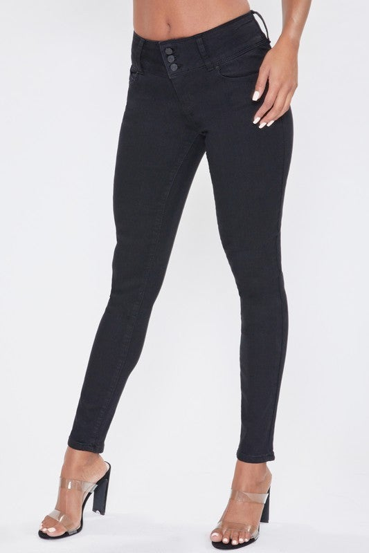 The Tracey Black Skinny Jean with 3 Button Fly - Sizes 1-13