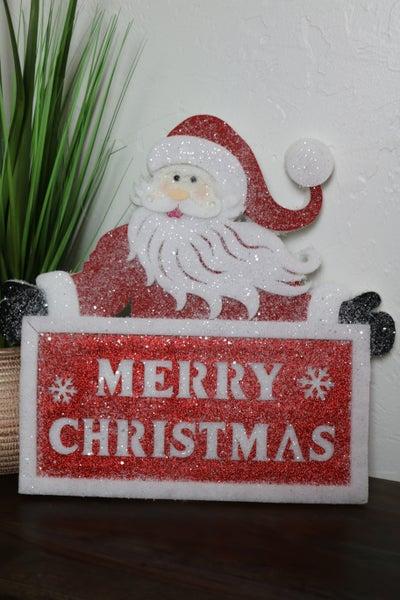 Merry Christmas Santa Lightweight Foam Wall Hanging Sign