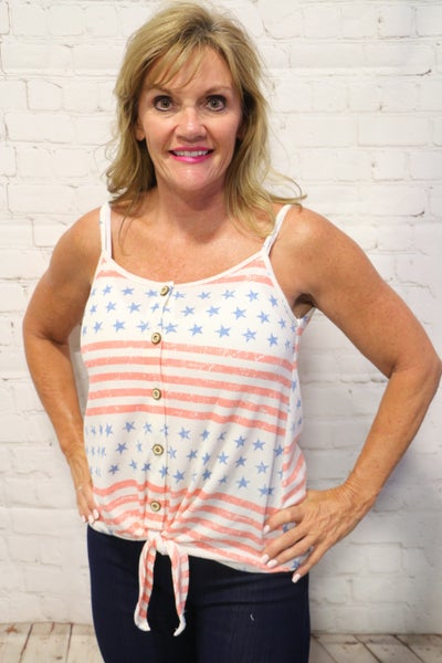 Stars & Stripes Tank With Tie Detail & Button Accents- Sizes 4-12