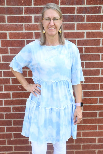 I Took a Walk Blue and WhiteTie Dye  Tiered Short Sleeve Dress - Sizes 4-12