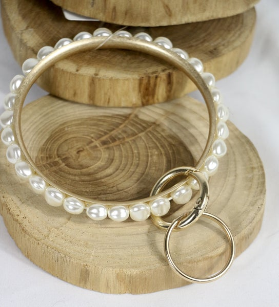On Your Own Freshwater Pearl Bangle Bracelet Keychain