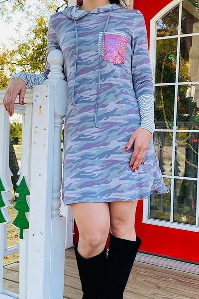 Hidden In Plaid Sight Camo Dress With Stripe & Sequin Accents- Sizes 4-20