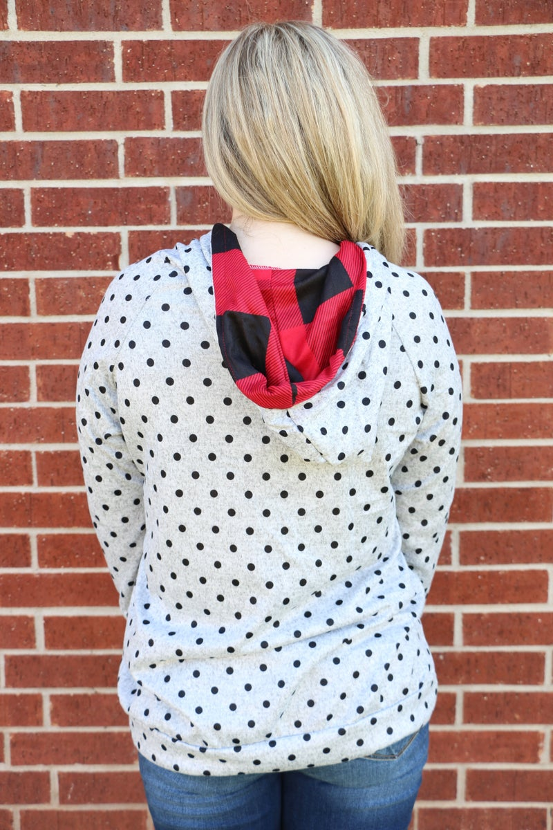 Take Your Time Gray Polka Dot Hoodie with Red Buffalo Check Accents - Sizes 4-20