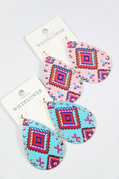Aztec Days Metal Teardrop Earring With Aztec Design And Bling Border In Multiple Colors