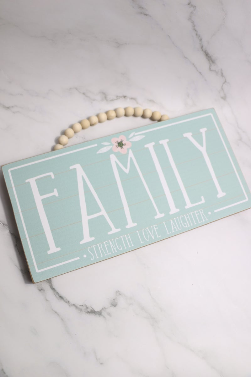 Family Mint Box Sign with Beaded Jute Hanger