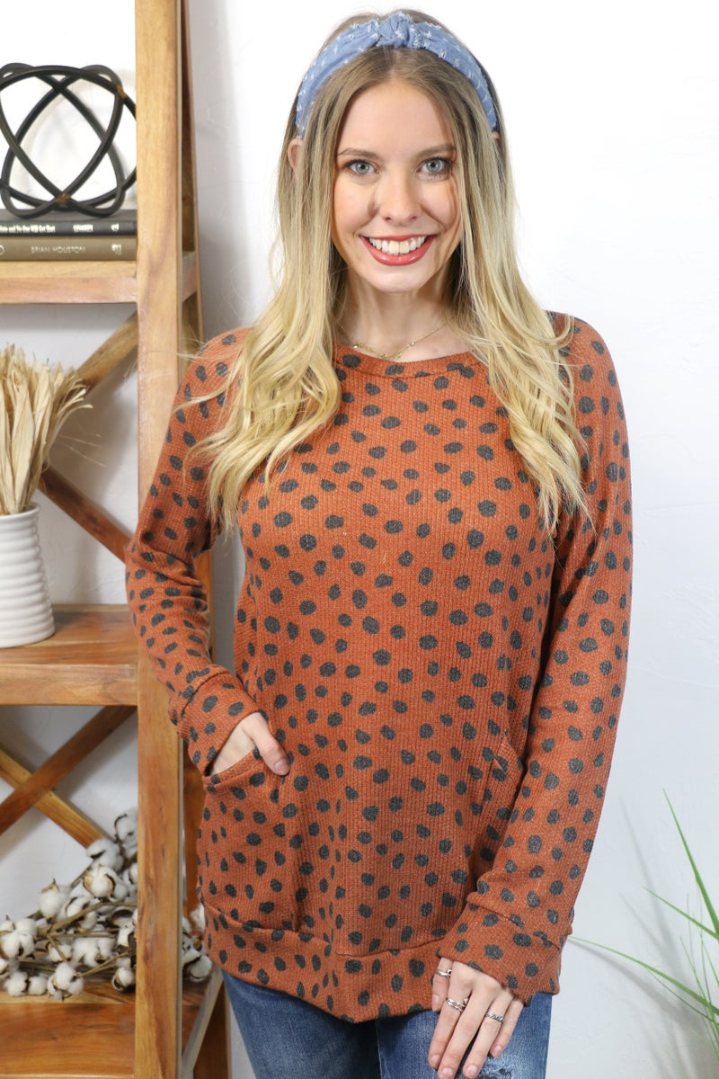 Tame the Wild Waffle Knit Dalmatian Top with Front Pockets in Multiple Colors - Sizes 4-12