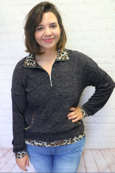Make My Day Charcoal Zip Up Pull Over with Leopard Accent - Sizes 4- 18