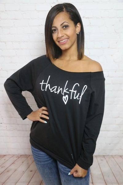 Thankful Black Off the Shoulder Quarter Sleeve Top - Sizes 4-12