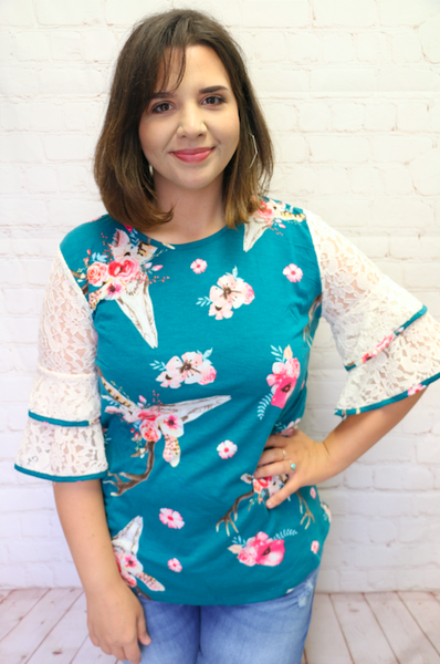 Everything is Perfect Floral Skull Teal Top with Lace Short Sleeve - Sizes 4-18
