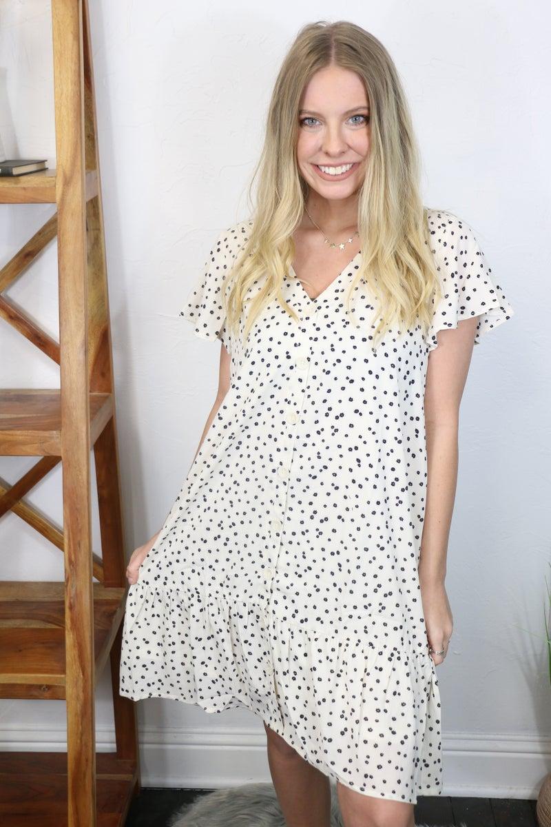 Take Me Home Ivory Floral Button Down Dress - Sizes 4-10