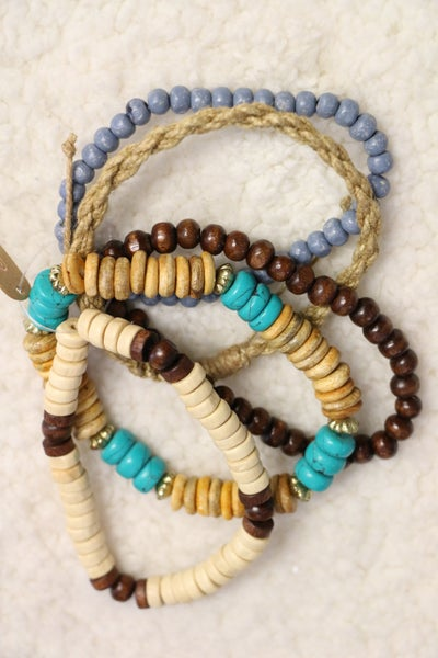 Summer Fun Braided Rope and Wooden Bead Stretch Bracelet