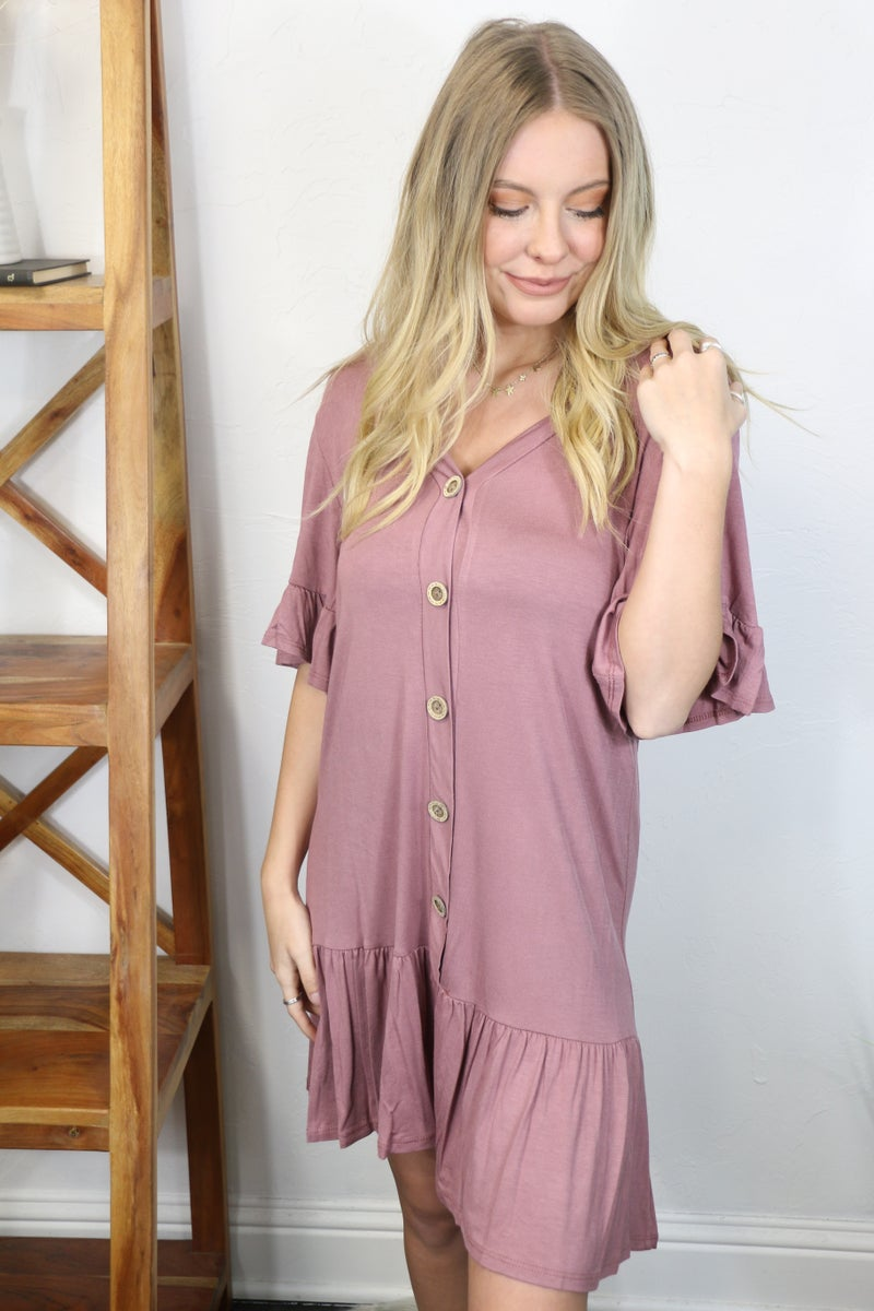 Today's the Day Mauve Button Down Drop Waist Dress with Ruffled Hem- Sizes 4-10