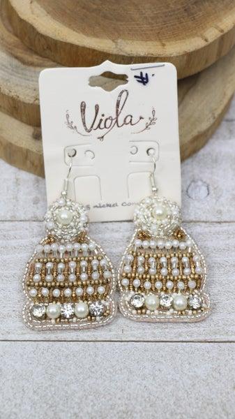Heads Up Pearl Beaded Toboggan Earring