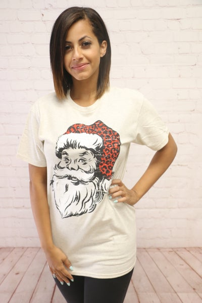 Jolly Ol' St. Nick Santa Tee in Heather Oatmeal - Sizes 4-20