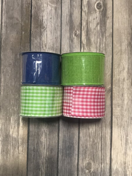 Summer Haze Coordinating Gingham and Solid Ribbon - Multiple Colors