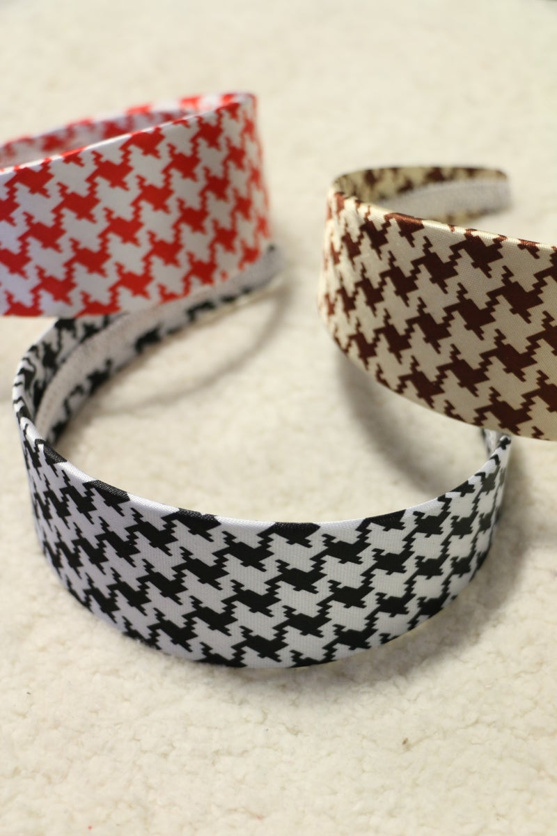 In The Know Satin Houndstooth Headband In Multiple Colors