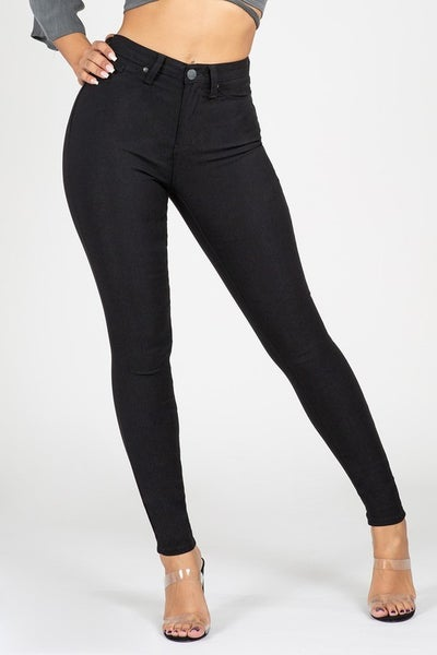 Going Out Black Skinny Jeans With Faux Front Pockets- Size 1-13