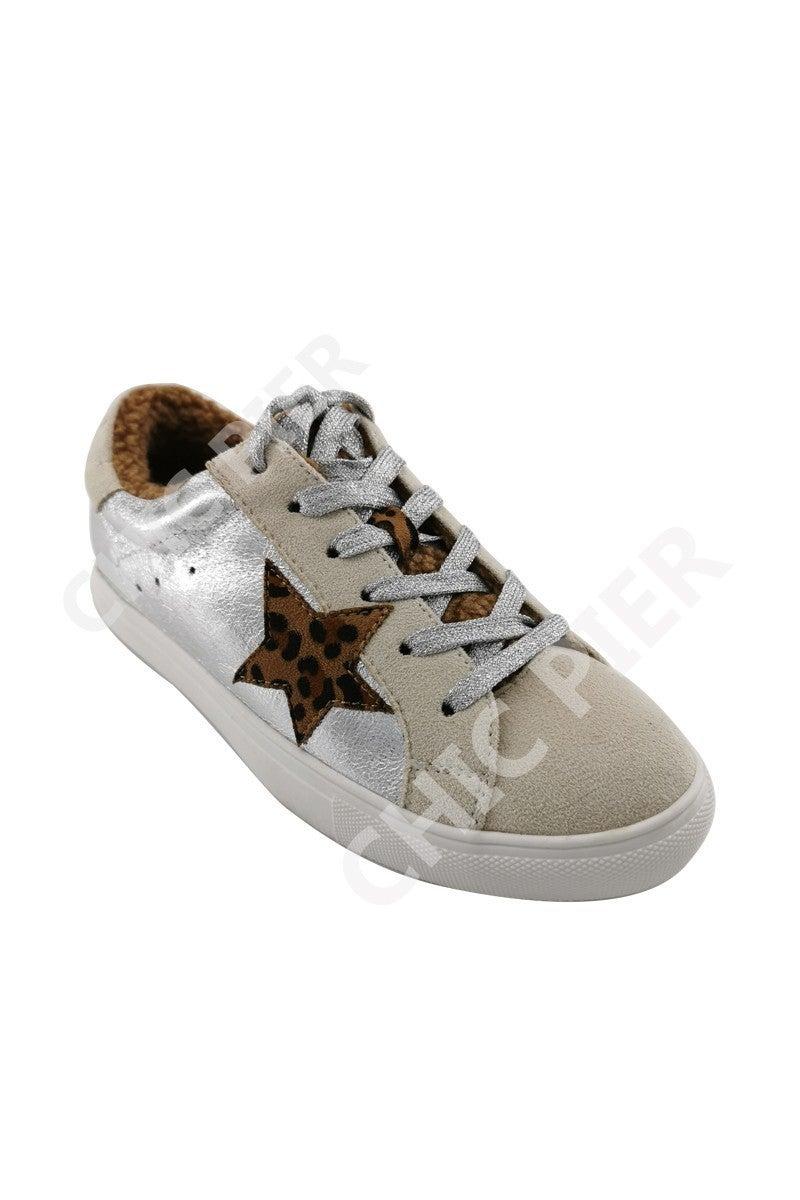 Let's Get Wild Tan & Silver Sneakers