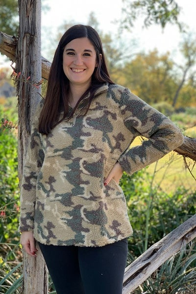 Hunting for Love  Camo Sherpa Pull Over - Sizes 4-20