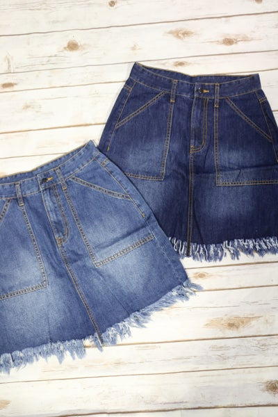 Cutting Edge Denim Skirt with Frayed Hem in Multiple Colors - Sizes 4-10