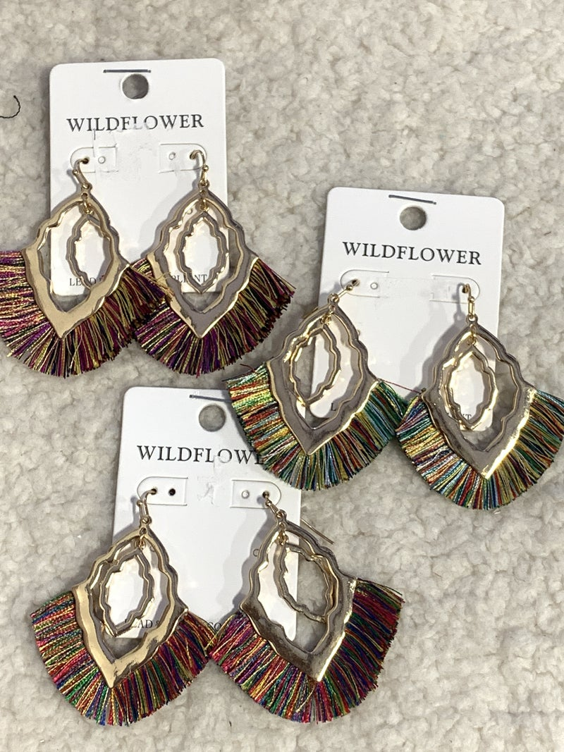 All Is Good Double Metal Morrocan Shape Earring With Fringe Tassel In Multiple Colors