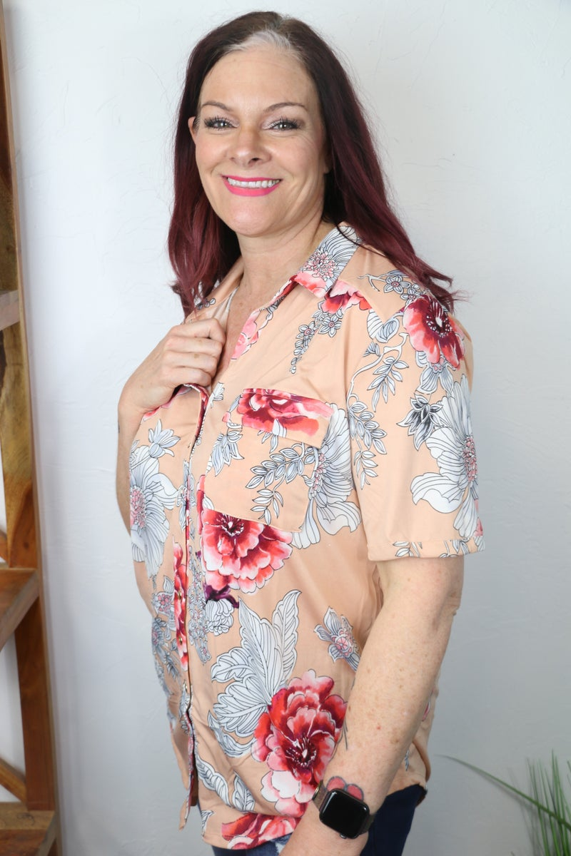 Never Wander Alone Floral Short Sleeve Button Down Top in Multiple Colors - Sizes 12-20