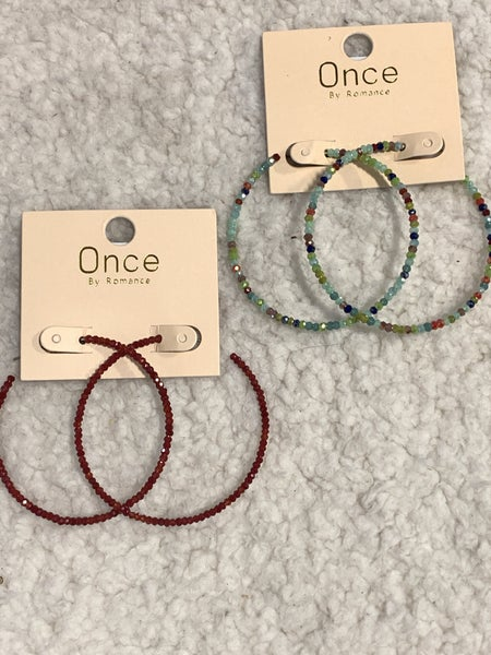 Shine On Crystal Bead Hoop Earring in Multiple Colors