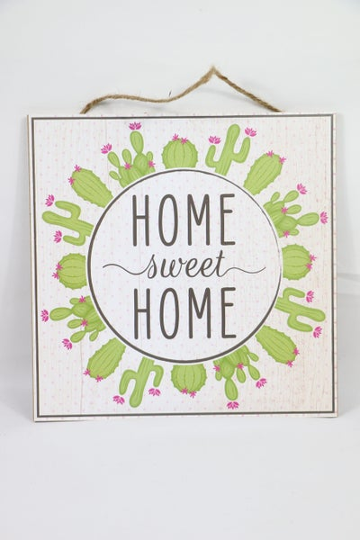 Home Sweet Home Square Cactus Sign