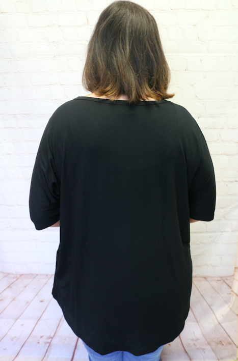 Always on the Lookout Black Short Sleeve Top with Camo Accent - Sizes 4-20