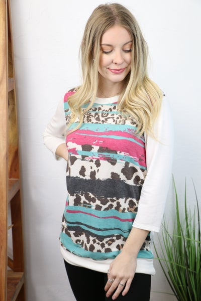 Something Special Ivory Leopard Contrast Three-Quarter Sleeve Top - Sizes 4-12
