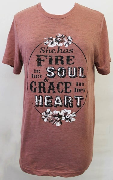 Fire In Her Soul & Grace In Her Heart Graphic Tee in Mauve - Sizes 4-20