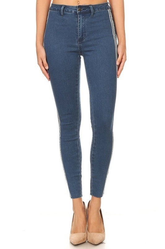 The Haylin High Waist Skinny Jeans with Stripe - Sizes 12-20