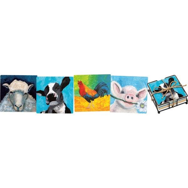 "Farm Animal ""Choose Happy"" Coaster Set of 4"