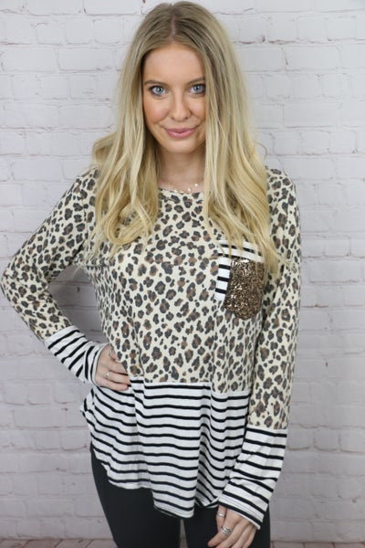 That's Exciting Leopard Body with Striped Accents and Sequin Pocket - Sizes 4-20