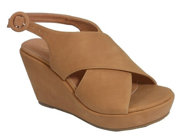 Charm You Criss Cross Wedge with Buckle Strap in Multiple Colors - Sizes
