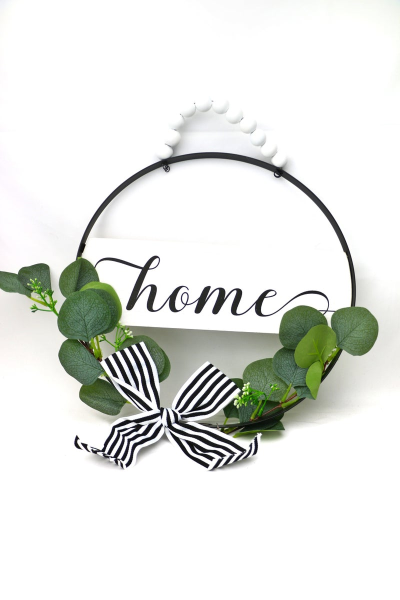 Seize The Day Round Metal Door Sign With Greenery And Beaded Hanger In Multiple Sayings