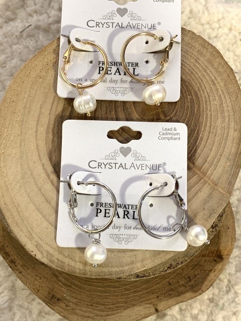 Simple Elegance Small Hoop With Freshwater Pearl Earring In Multiple Colors