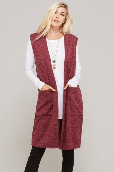 Never Have to Walk Alone Heathered Wine Vest - Sizes 4-10